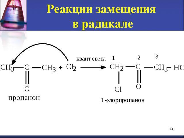 Реакции замещения в радикале * + HCl