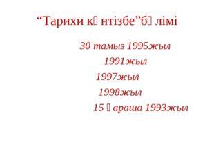 """""""Тарихи күнтізбе""""бөлімі 30 тамыз 1995жыл 1991жыл 1997жыл 1998жыл 15 қараша 19"""