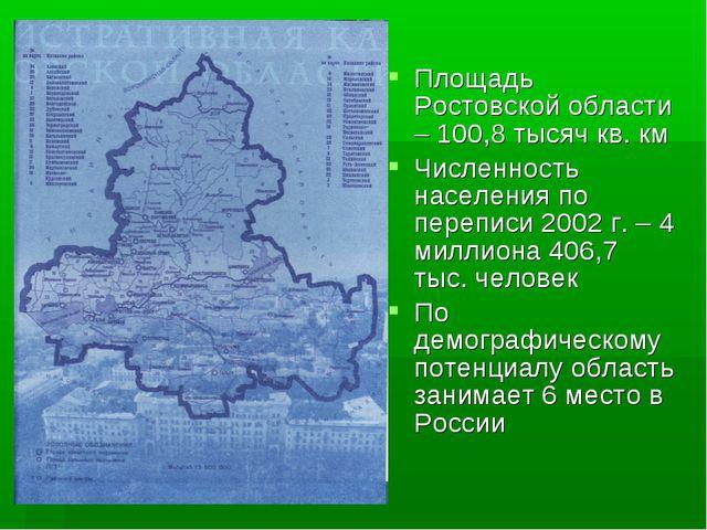 Площадь Ростовской области – 100,8 тысяч кв. км Численность населения по пере...