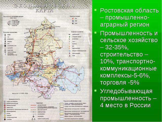 Ростовская область – промышленно-аграрный регион Промышленность и сельское хо...