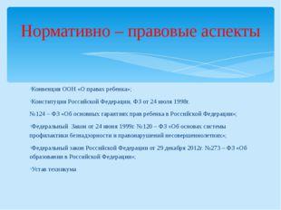 Конвенция ООН «О правах ребенка»; Конституция Российской Федерации, ФЗ от 24