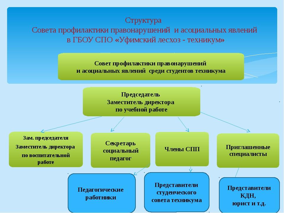 Структура Совета профилактики правонарушений и асоциальных явлений в ГБОУ СПО...