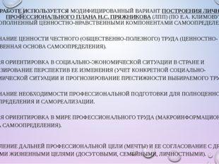 В РАБОТЕ ИСПОЛЬЗУЕТСЯ МОДИФИЦИРОВАННЫЙ ВАРИАНТ ПОСТРОЕНИЯ ЛИЧНОГО ПРОФЕССИОНА