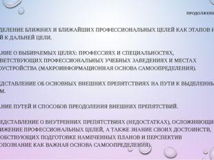 ПРОДОЛЖЕНИЕ  6. ВЫДЕЛЕНИЕ БЛИЖНИХ И БЛИЖАЙШИХ ПРОФЕССИОНАЛЬНЫХ ЦЕЛЕЙ КАК ЭТА