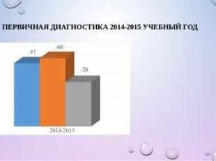 ПЕРВИЧНАЯ ДИАГНОСТИКА 2014-2015 УЧЕБНЫЙ ГОД