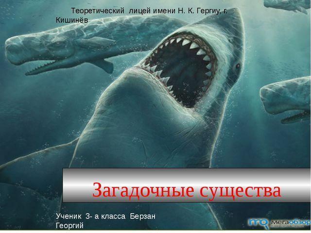 Загадочные существа Теоретический лицей имени Н. К. Гергиу, г. Кишинёв Учени...