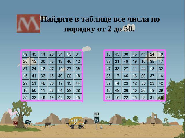 Найдите в таблице все числа по порядку от 2 до 50.