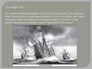 21 октября 1520 г. Не успели корабли-разведчики скрыться в узком проходе, как