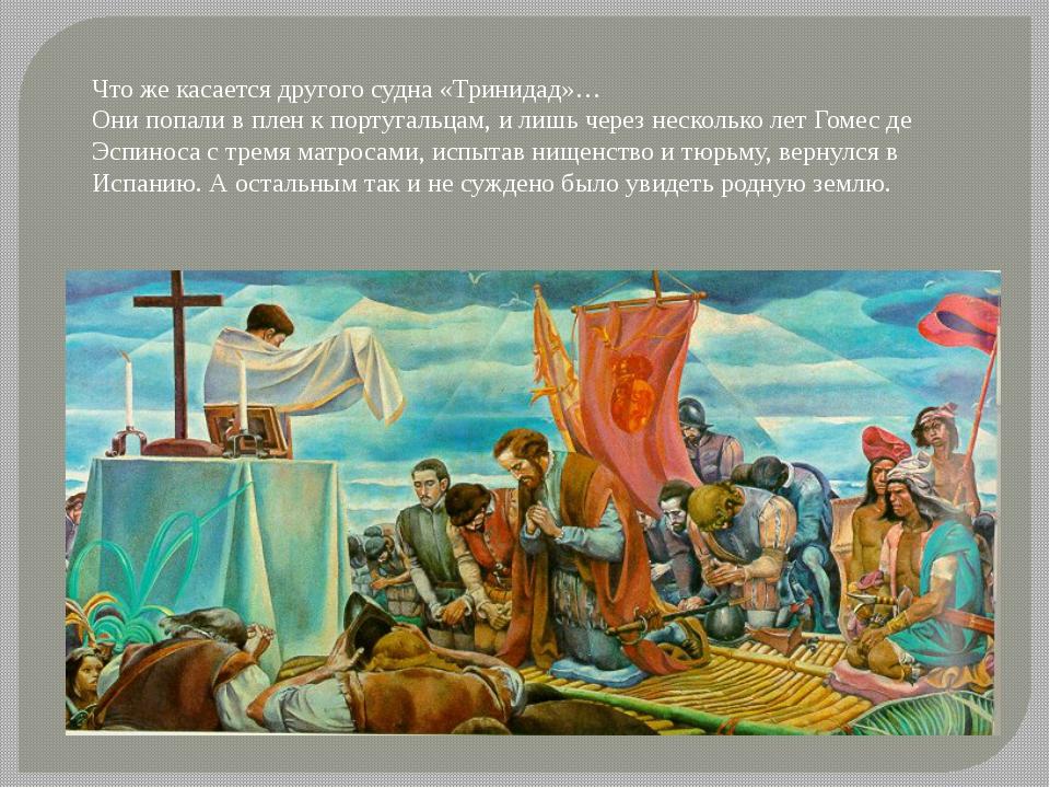 Что же касается другого судна «Тринидад»… Они попали в плен к португальцам, и...