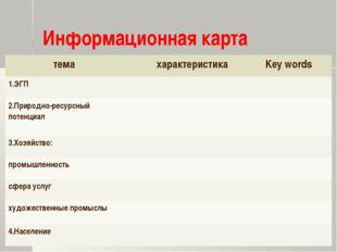 Информационная карта темахарактеристикаKey words 1.ЭГП 2.Природно-ресурсн