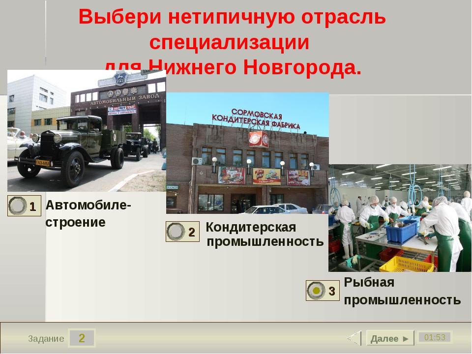 2 01:53 Задание Выбери нетипичную отрасль специализации для Нижнего Новгорода...