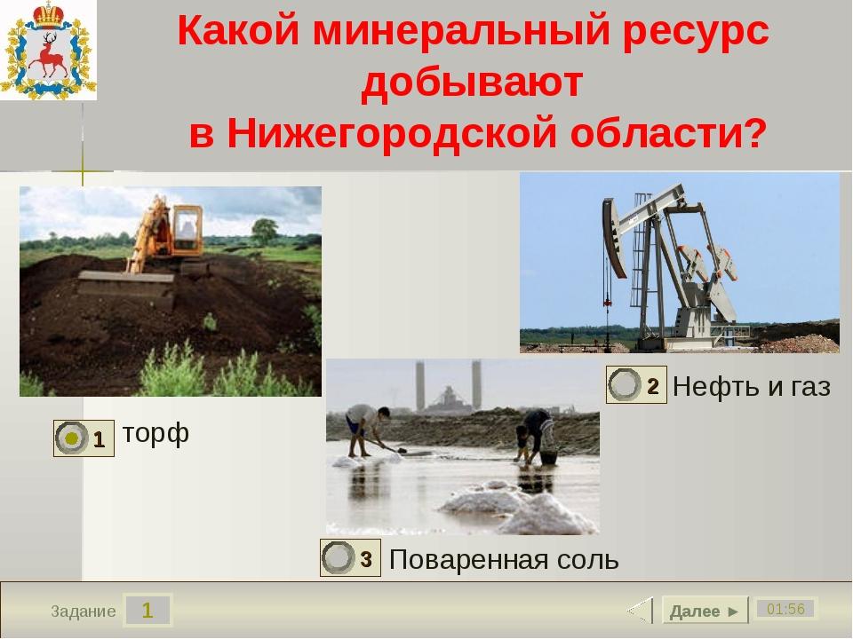 1 01:56 Задание Какой минеральный ресурс добывают в Нижегородской области? то...