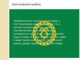 Флаг Аскинского района Прямоугольное зеленое полотнище с соотношением ширины