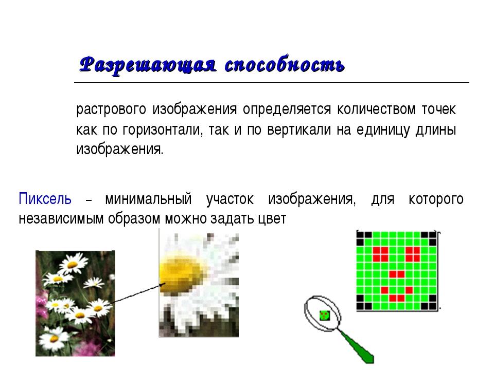 Разрешающая способность растрового изображения определяется количеством точе...