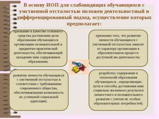 В основу ИОП для слабовидящих обучающихся с умственной отсталостью положен де