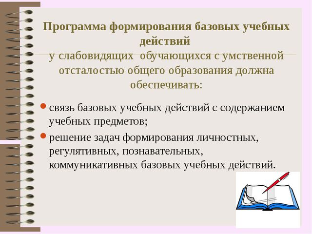 Программа формирования базовых учебных действий у слабовидящих обучающихся с...
