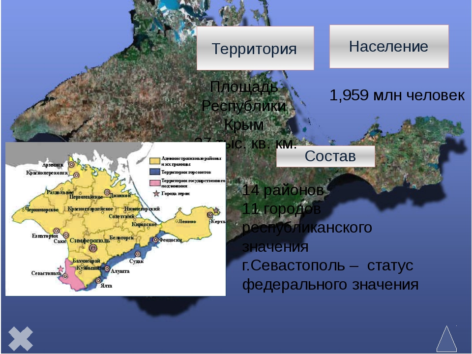 В пределах горного Крыма выделяются: Главная гряда, Южный берег и Предгорные...