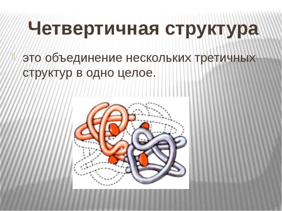 Четвертичная структура это объединение нескольких третичных структур в одно ц...