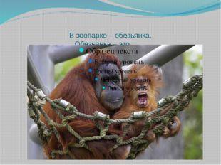 В зоопарке – обезьянка. Обезьянка – это …….