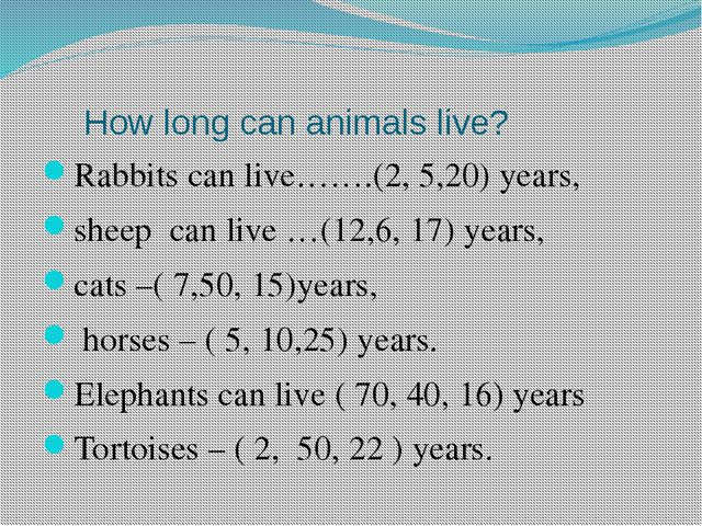 How long can animals live? Rabbits can live…….(2, 5,20) years, sheep can liv...