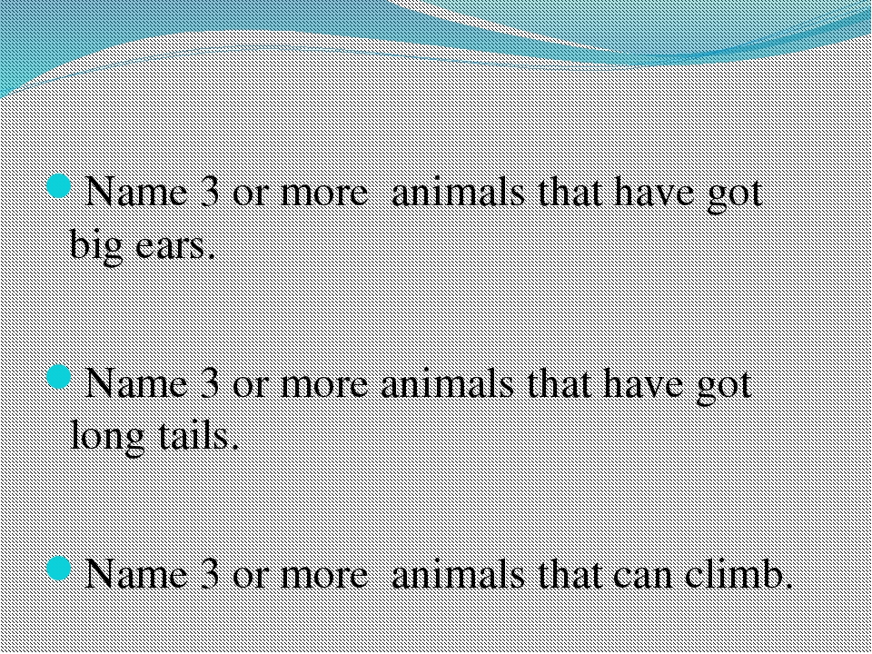 Name 3 or more animals that have got big ears. Name 3 or more animals that h...