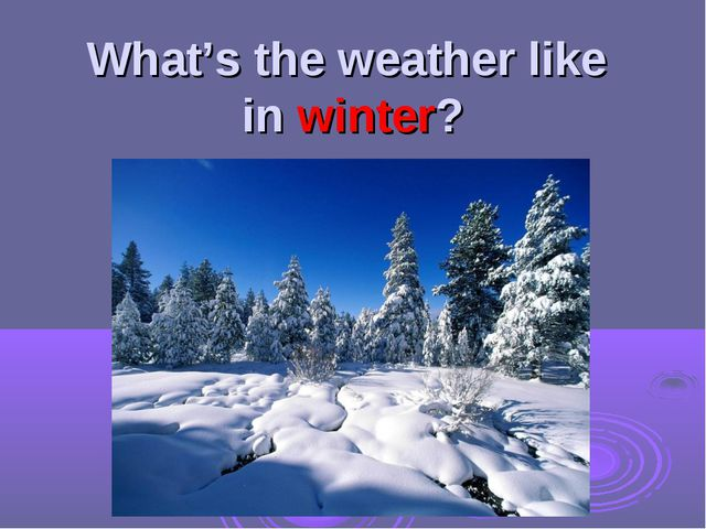 What's the weather like in winter?