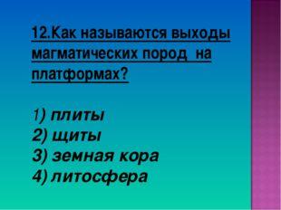 12.Как называются выходы магматических пород на платформах? 1) плиты 2) щиты