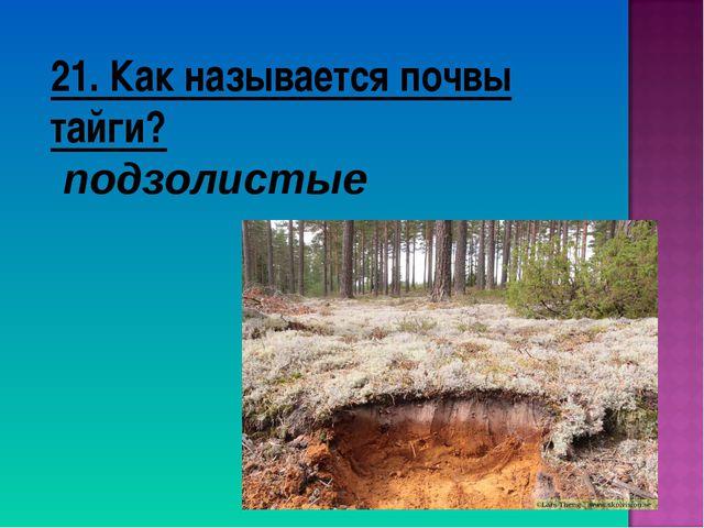 21. Как называется почвы тайги? подзолистые