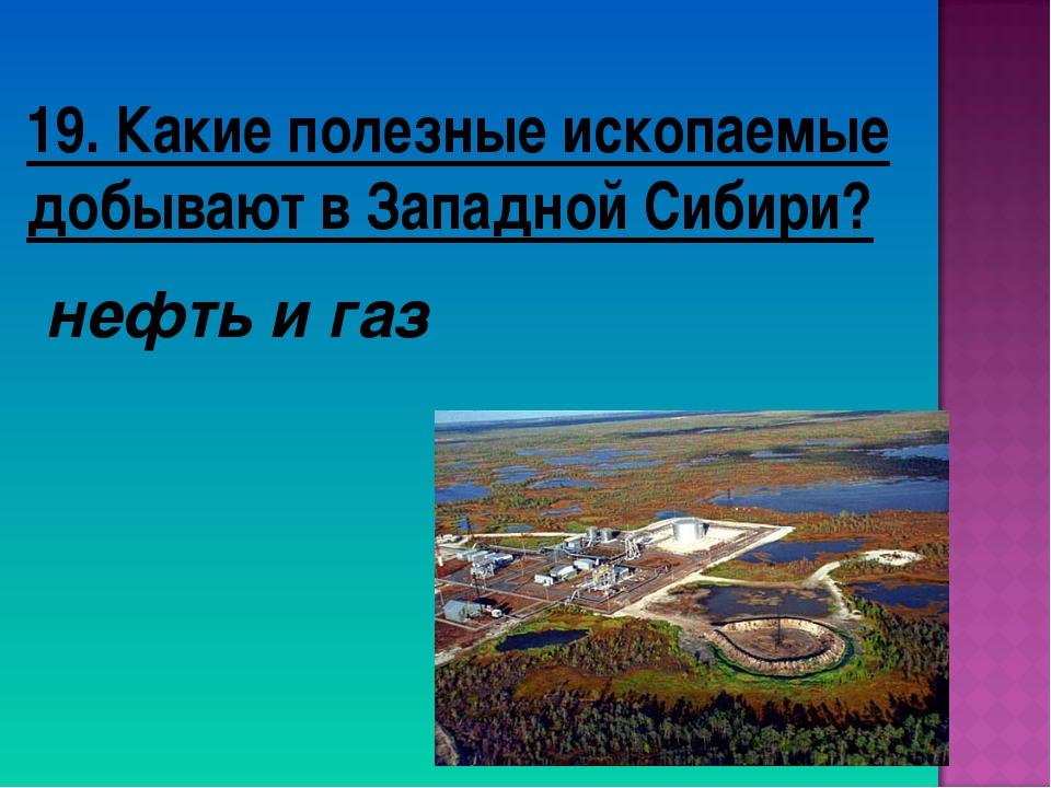 19. Какие полезные ископаемые добывают в Западной Сибири? нефть и газ