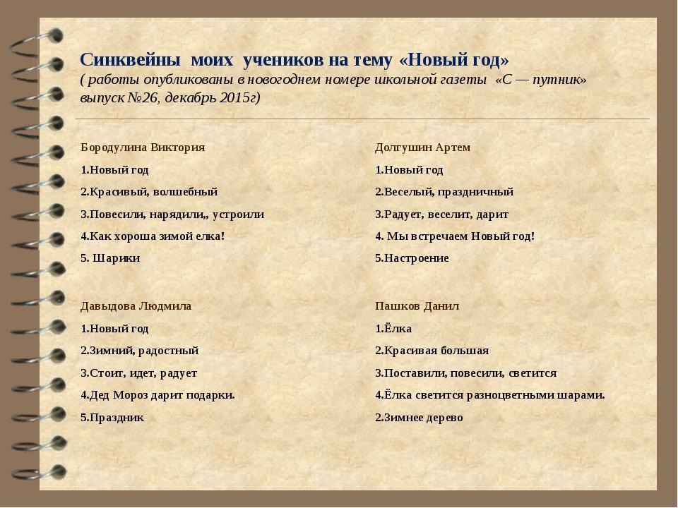 Синквейны моих учеников на тему «Новый год» ( работы опубликованы в новогодне...