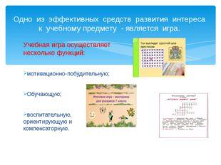 Учебная игра осуществляет несколько функций: мотивационно-побудительную; Обуч