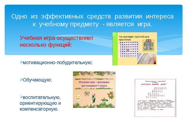Учебная игра осуществляет несколько функций: мотивационно-побудительную; Обуч...