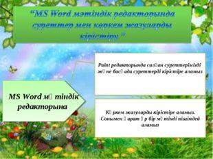 MS Word мәтіндік редакторына Paint редакторында салған суреттерімізді және ба