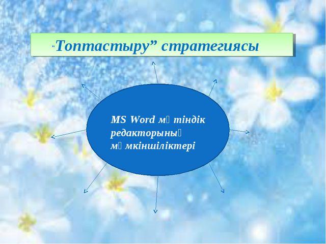 """""""Топтастыру"""" стратегиясы MS Word мәтіндік редакторының мүмкіншіліктері"""