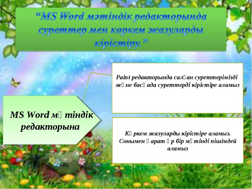 MS Word мәтіндік редакторына Paint редакторында салған суреттерімізді және ба...