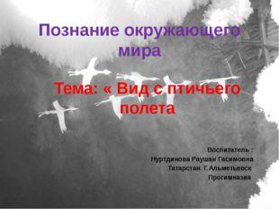 Познание окружающего мира Тема: « Вид с птичьего полета Воспитатель : Нуртдин