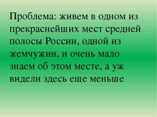 Проблема: живем в одном из прекраснейших мест средней полосы России, одной и