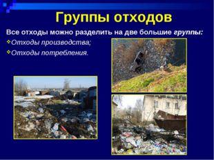 Группы отходов Все отходы можно разделить на две большие группы: Отходы произ