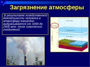 Загрязнение атмосферы В результате хозяйственной деятельности человека в атмо