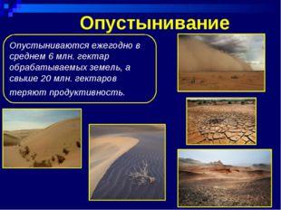 Опустынивание Опустыниваются ежегодно в среднем 6 млн. гектар обрабатываемых