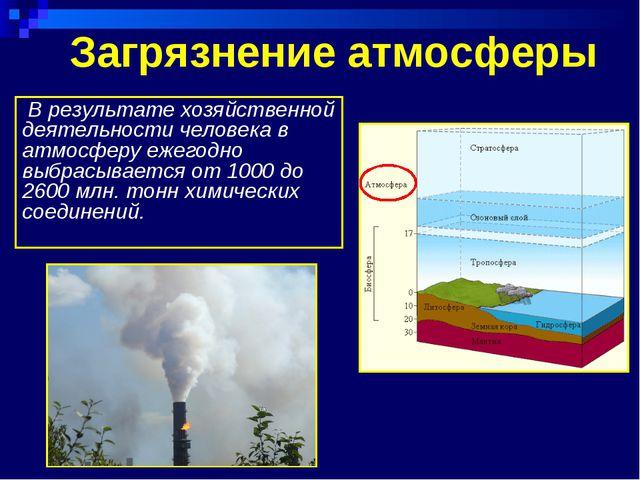 Загрязнение атмосферы В результате хозяйственной деятельности человека в атмо...