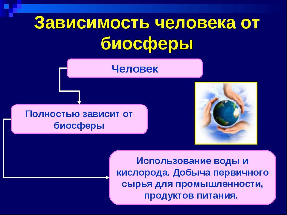 Зависимость человека от биосферы Человек Полностью зависит от биосферы Исполь...