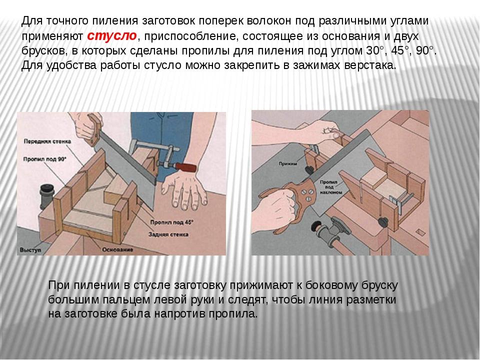 Для точного пиления заготовок поперек волокон под различными углами применяют...