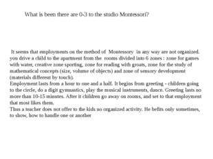 What is been there are 0-3 to the studio Montessori? It seems that employment