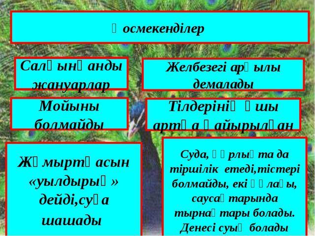Қосмекенділер Салқынқанды жануарлар Желбезегі арқылы демалады Мойыны болмайды...