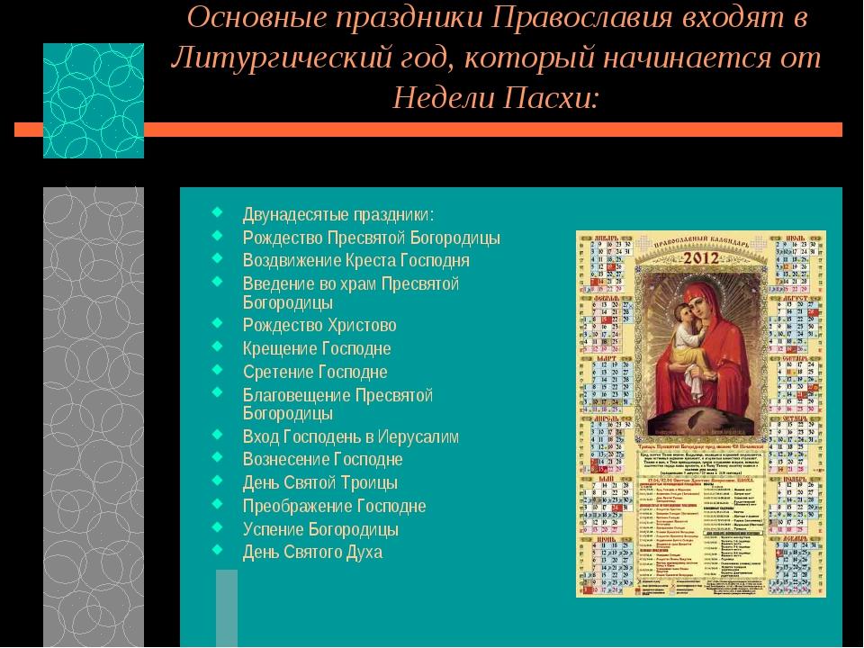 Основные праздники Православия входят в Литургический год, который начинается...