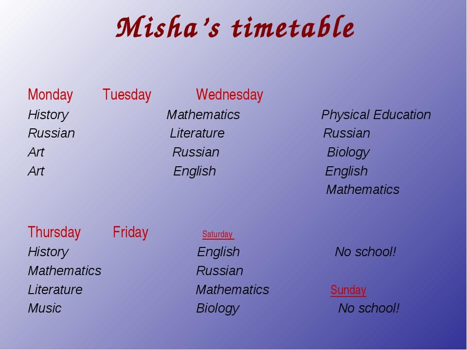 Misha's timetable Monday Tuesday Wednesday History Mathematics Physical Educa...