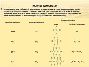Явление гомологии А теперь посмотрите (таблица 1) на примеры молекулярных и с