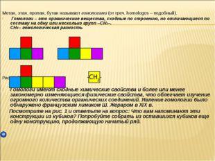 Метан, этан, пропан, бутан называют гомологами (от греч. homologos – подобный