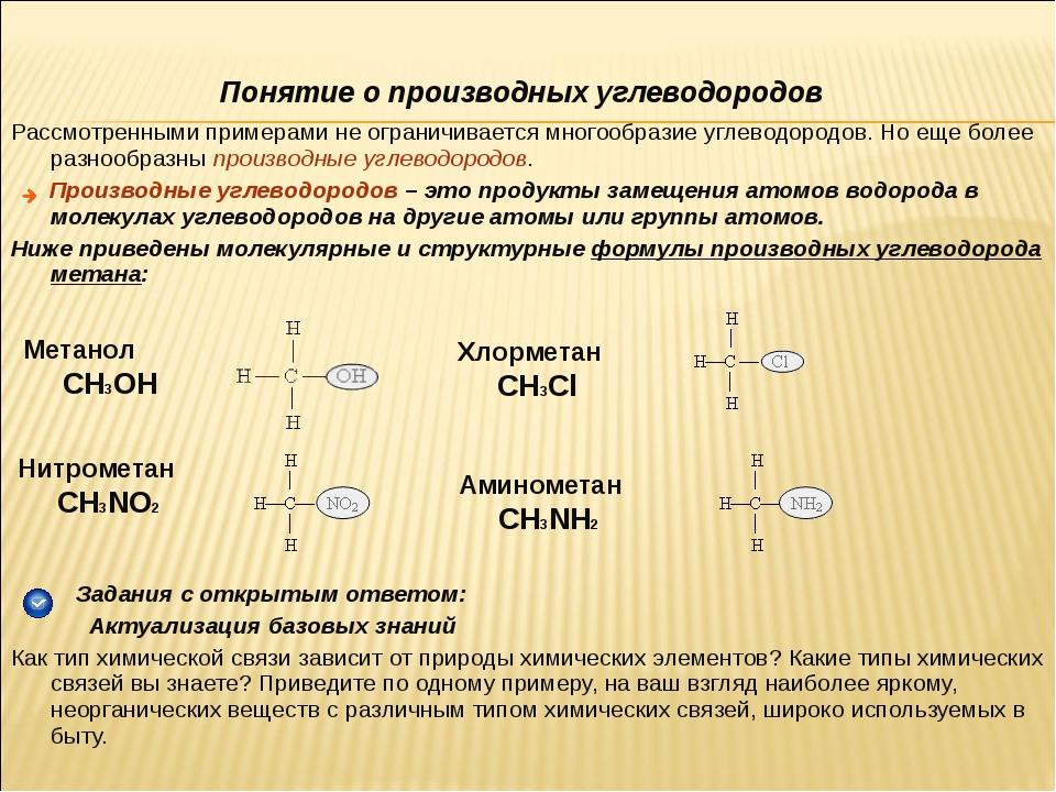 Понятие о производных углеводородов Рассмотренными примерами не ограничиваетс...